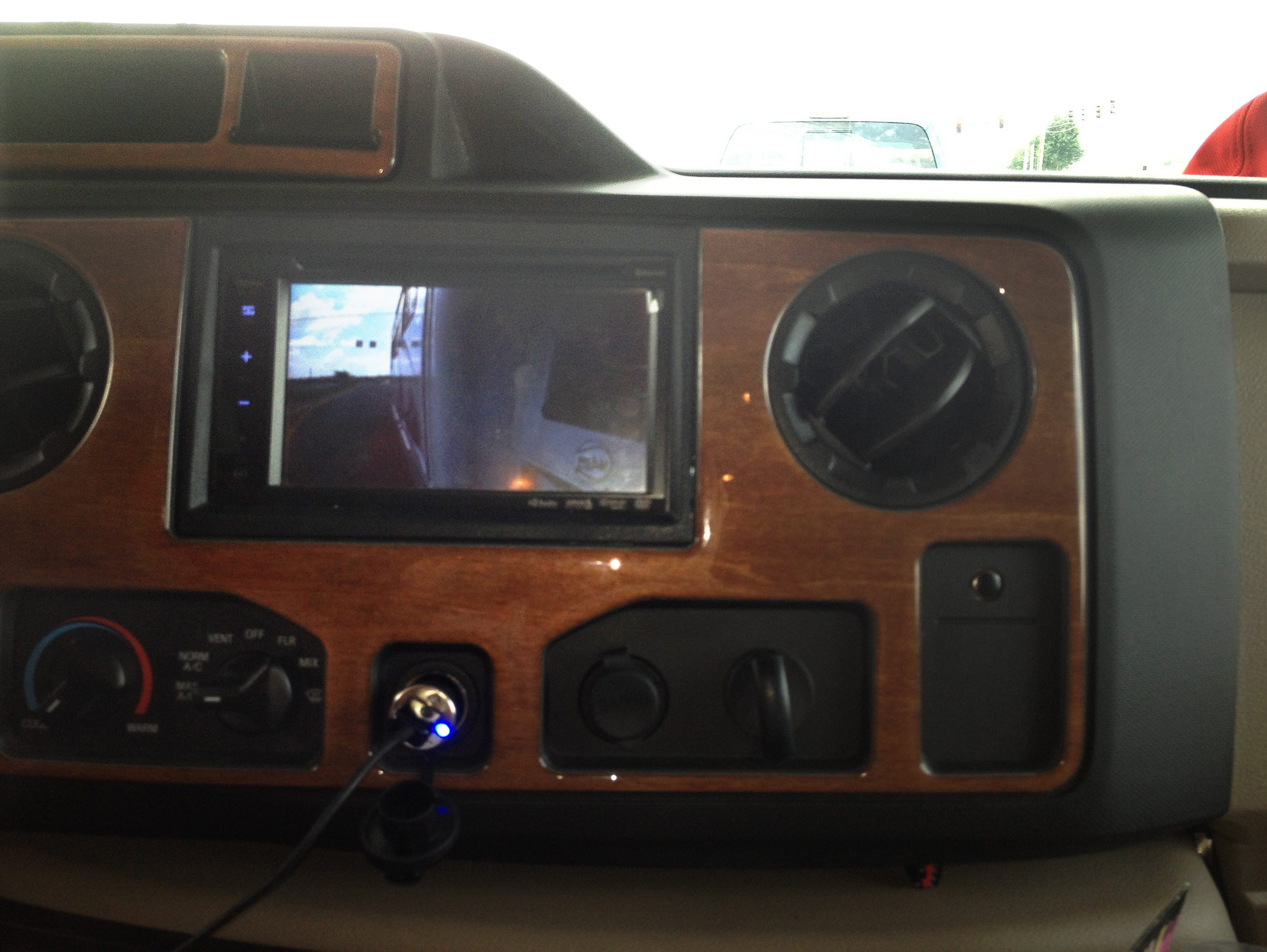 The Jayco Greyhawk is equipped with side-view cameras to help with lane changes and turns when the blinker is engaged.