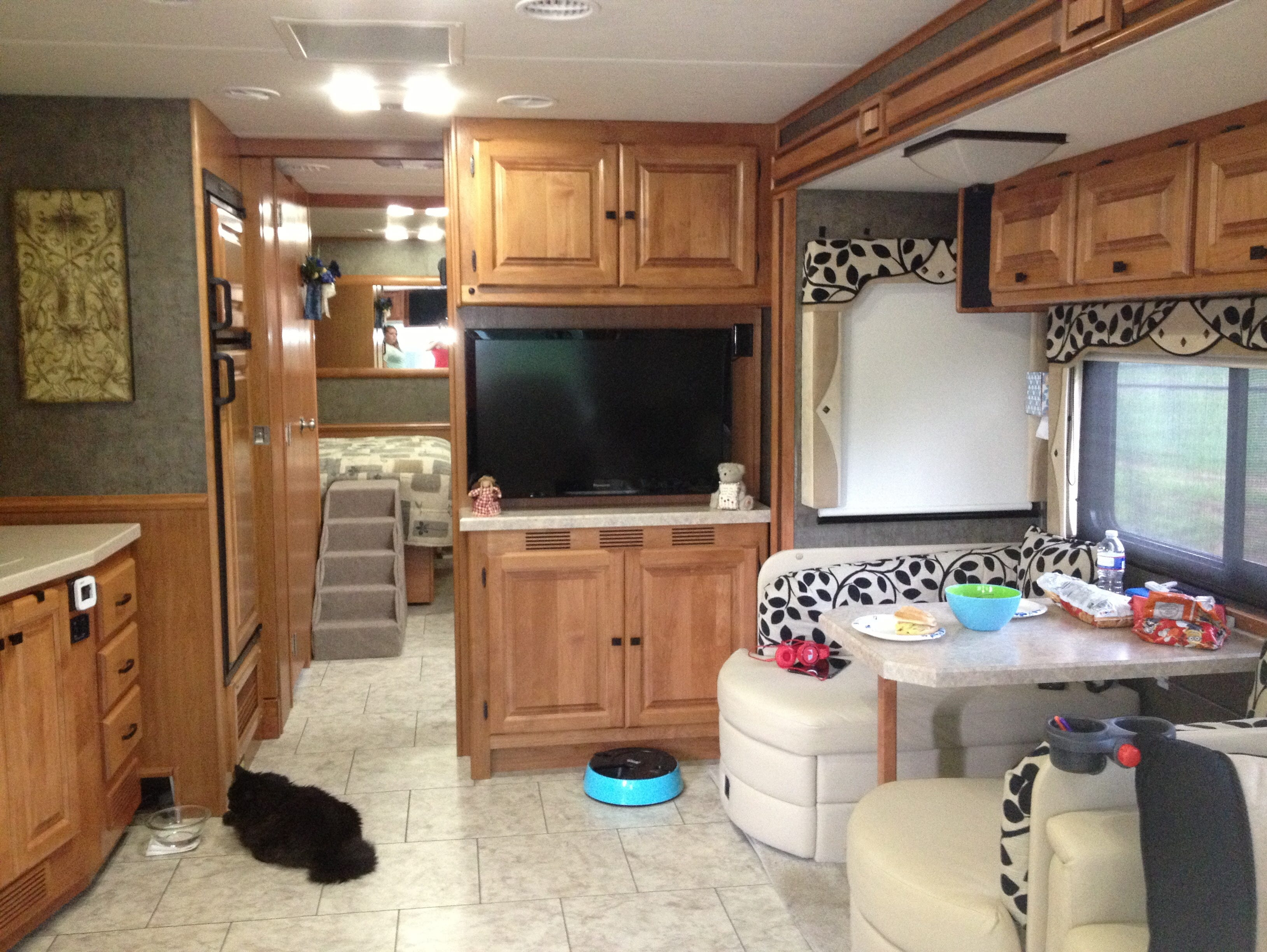 The interior of Carolyn and John Mitchell's motorhome. The couple travel with their cats, Heidi (pictured) and Smokey.
