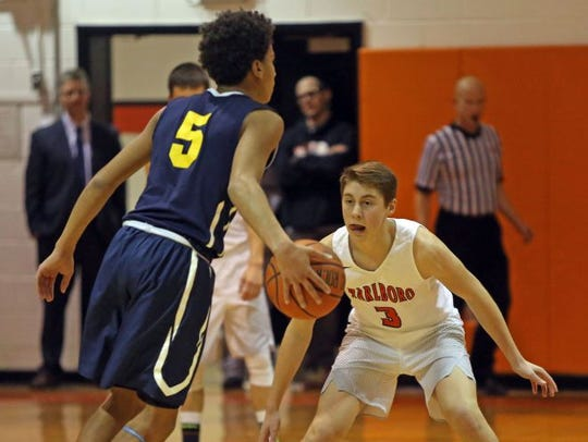 Marlboro's Samuel Mongelli (3) guards Pine Bush's Brandon