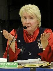 School Board member Sherry Parsons speaks at the meeting.