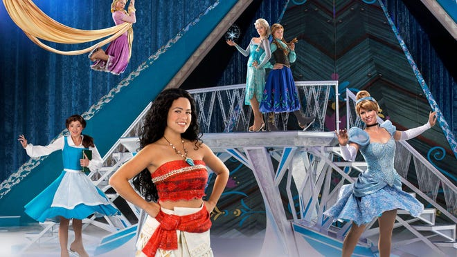 Shown are the heroines of the Disney on Ice Dare to Dream show: Belle, Rapunzel, Moana, Queen Elsa, Princess Anna, and Cinderella.