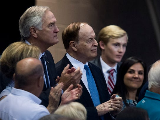 Senators Luther Strange and Richard Shelby watch as