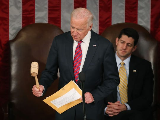 Jan. 6, 2017: Vice President Joe Biden reacts to an