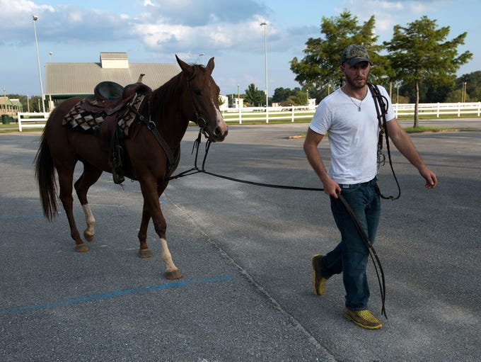 Palm Beach resident Brandon Perdue rides his 3-year-old