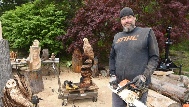 Don Mesuda, a chainsaw carver, pictured at his home in Hopewell Junction.