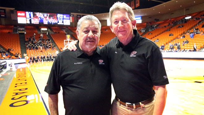 Alfredo Chavez, left, and Ron Ballinger have 25 and 30 years respectively keeping statistics at UTEP sporting events.