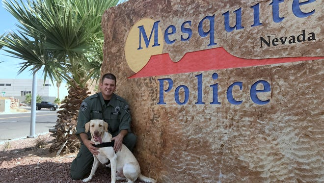 Marley with his handler officer Justin Goodsell.