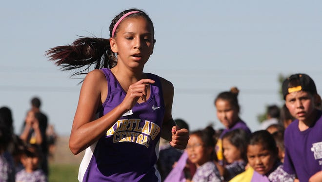 Kirtland Central's Michaela Hawkins finished first in the Kirtland Ridge Run on Friday at Kirtland Elementary School.