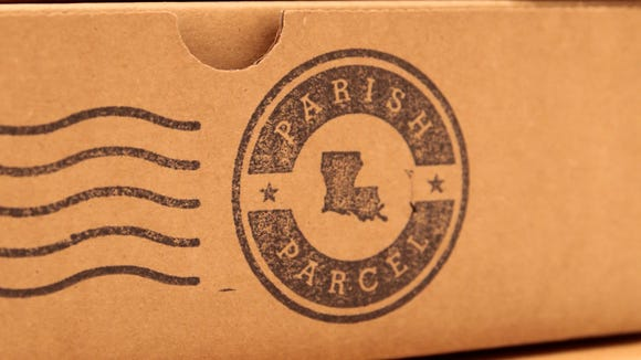 Parish Parcel's logo is stamped onto their boxes June 8, 2016.