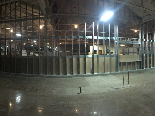 A panoramic shot of the progress inside Centerpoint