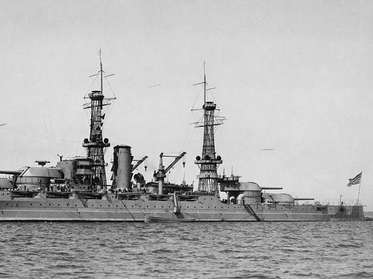 The image of America entering World War II is of the battleship USS Arizona burning in Pearl Harbor on Dec. 7, 1941, with the greatest loss of life —1,177. This photo was taken of the Arizona in 1929 or 1930.