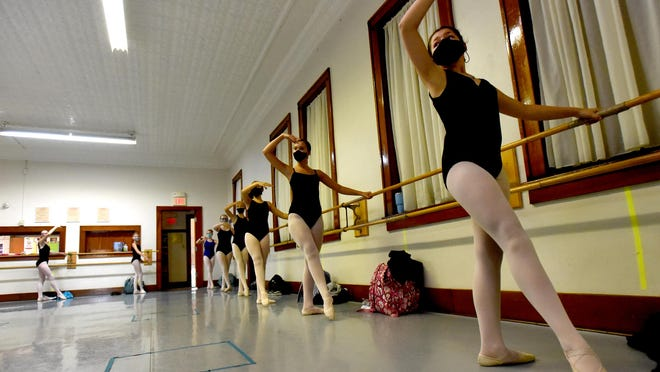 Eight ballet academy dancers wearing mask take part in the intermediate dance class Thursday. This was the third day back to class after reopening because of COVID-19 and the Governor Gretchen Whitmer orders to shut down dance theatre's.