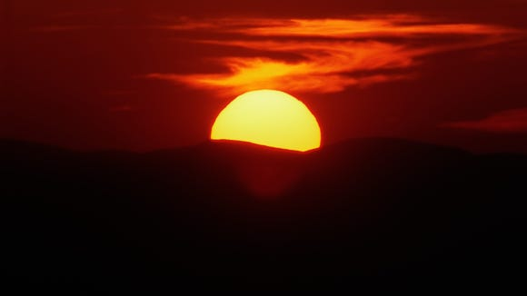 """""""Dark hills at evening in the west, Where sunset hovers"""