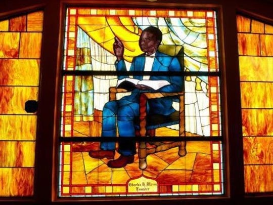 Image of Bishop Charles H. Mason in stained glass at Mason Temple in Memphis.