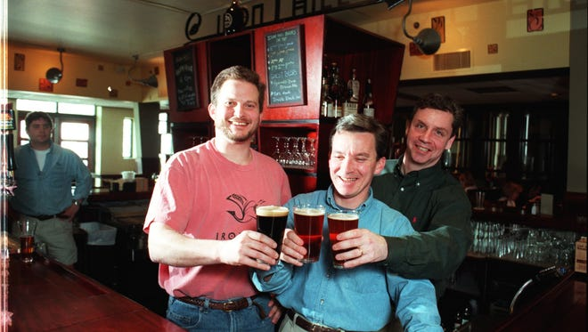 Mark Edelson, Kevin Davies and Kevin Finn (left to right) at Iron Hill Brewery & Restaurant in Newark in 1997.