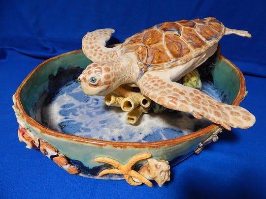 Work by Lorrie Goss: Sea turtle fountain