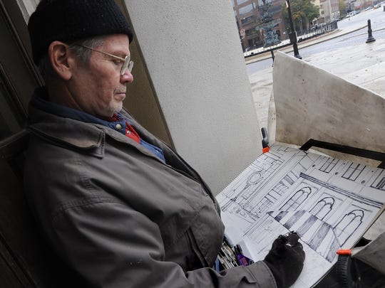 Bob Adams sketches a ceremony celebrating the Klein and Sons clock being moved back to Court Square in 2009.