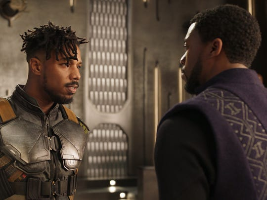 "Michael B. Jordan and Chadwick Boseman in ""Black Panther."""
