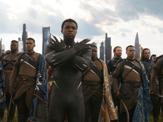 This image released by Disney shows Chadwick Boseman,