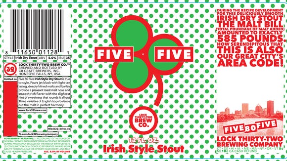 This is the label for Lock 32's Five 80 Five Irish Style Stout.