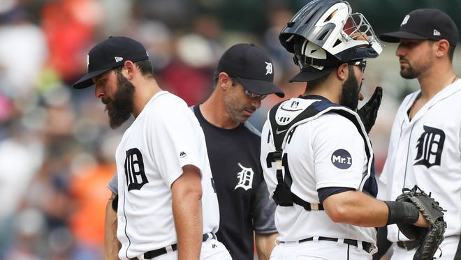 Tigers manager Brad Ausmus removes starter Michael Fulmer in the ninth inning against the Royals on Thursday, June 29, 2017 at Comerica Park in Detroit.