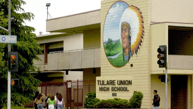 Tulare Union's redskin mascot is prominently displayed on the side of the high school.