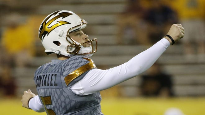 Arizona State kicker Zane Gonzalez warms up before a game against UCLA on Saturday, Oct. 8, 2016 in Tempe, Ariz.