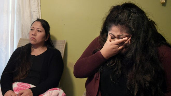 Cinthya Contreras, 20, becomes emotional when talking about the day she escaped with her sister from her burning home. Fire destroyed her family's trailer in Franklin. They became homeless and without food or clothing just before the holidays. They are now living with relatives and waiting for a new place to live.