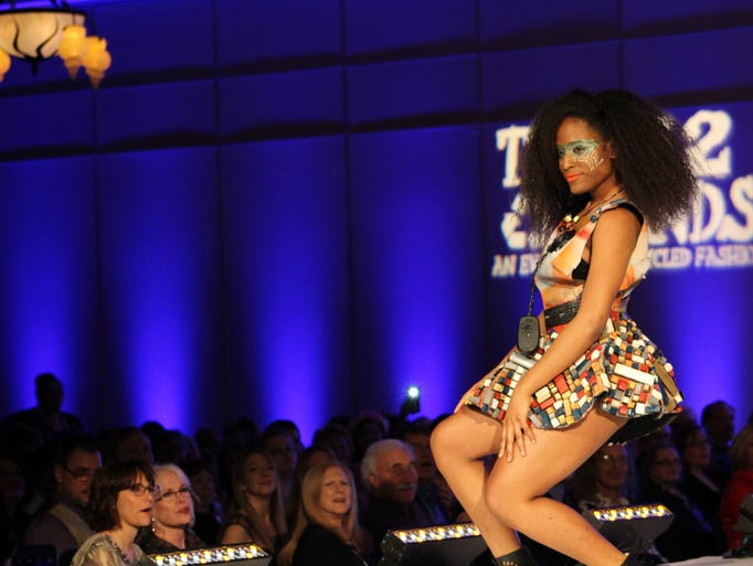 "A model shows off ""Techno Goddess,"" a design using"