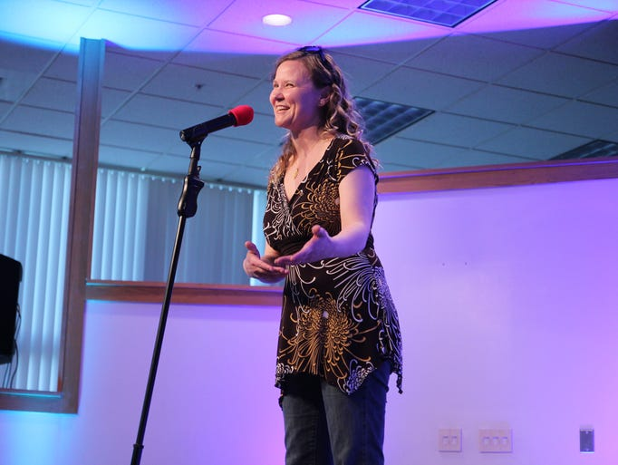Nicole Mullis started the evening for the Mosaic Storytelling