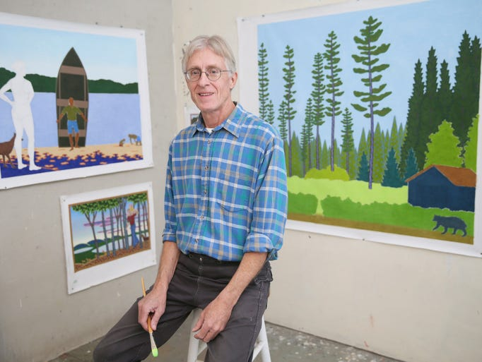 Charles Munch works in his rural Lone Rock studio.