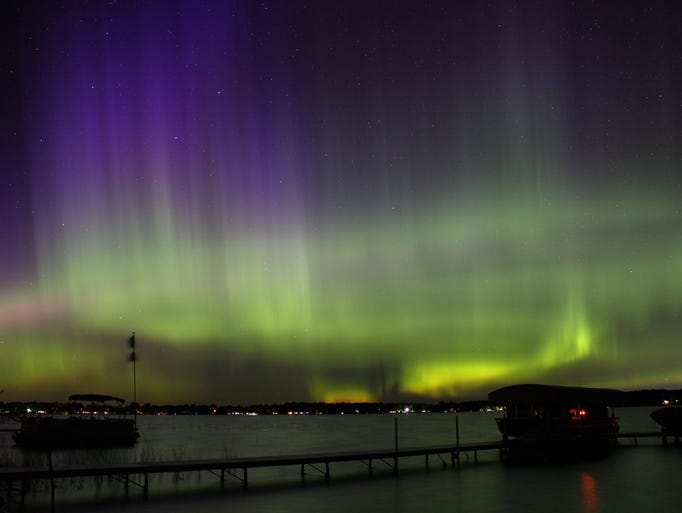 The northern lights over Carp Lake in Michigan on Sept.