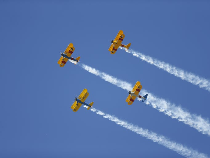 The Veterans Day Parade begins with a flyover on Nov.