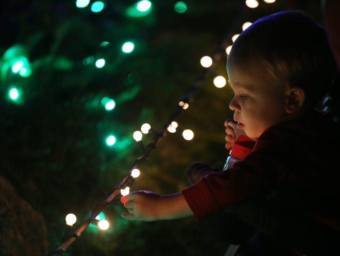 Wyatt Williams, 1, looks at the holiday lights during