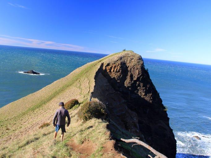 Eric Johnson follows a ridgeline to God's Thumb north