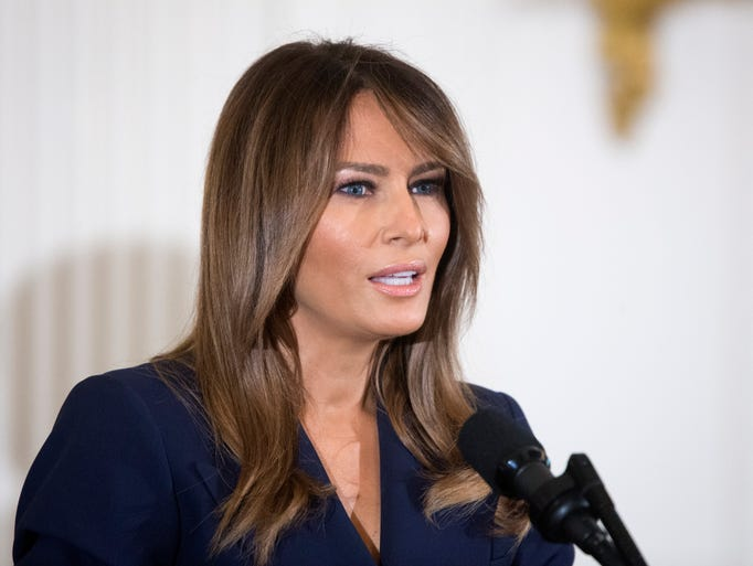 First Lady Melania Trump spoke at an event with military