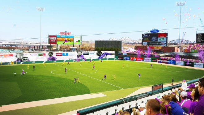 Architect Wayne Estopinal last month released renderings of a proposed soccer layout at Slugger Field.