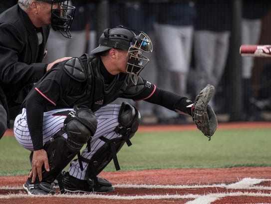 Rutgers catcher Nick Matera of Roxbury plays against