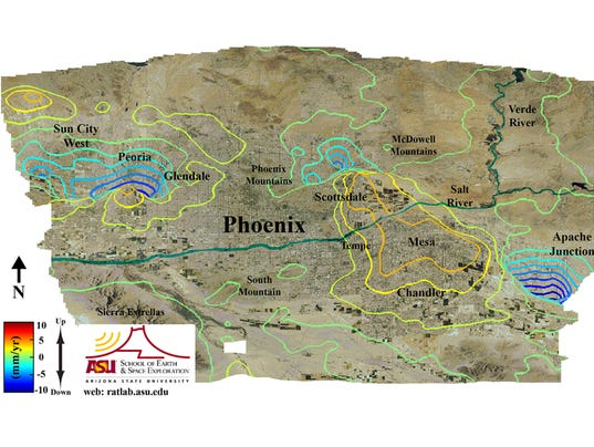 ASU Study Parts Of Metro Phoenix Area Are Sinking - Ground elevation map