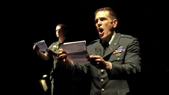 """Fort Worth Opera's production of """"Glory Denied,"""" featuring Michael Mayes in the role of Older Thompson."""