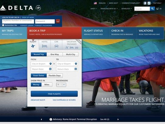 Delta.com homepage
