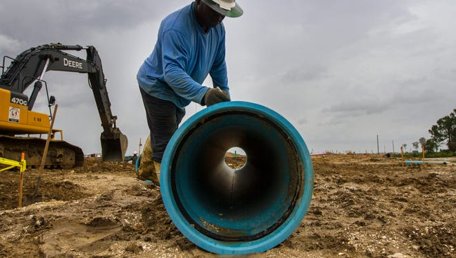 Ground work, and preliminary pipe assembly preparations are underway at the site of the  new Babcock Ranch community in Charlotte County.