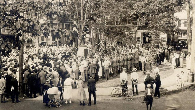 In this file photo, taken Aug. 11, 1924, the Jacob Stroud chapter of the Daughters of the American Revolution dedicate the Doughboy statue at Courthouse Square, in Stroudsburg.