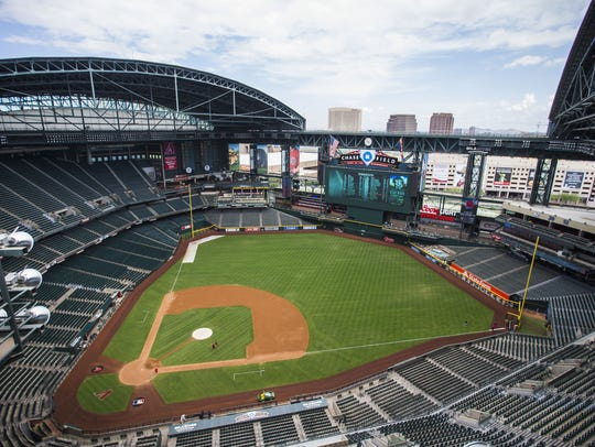 Chase Field, home of the Arizona Diamondbacks,  on