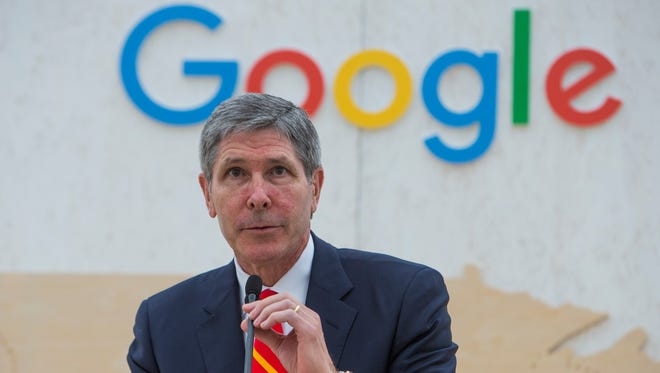 Bob Rolfe, commissioner of the Tennessee Department of Economic and Community Development, speaks at a February groundbreaking for the Google data center in Clarksville. Google received millions of business incentives for the center.