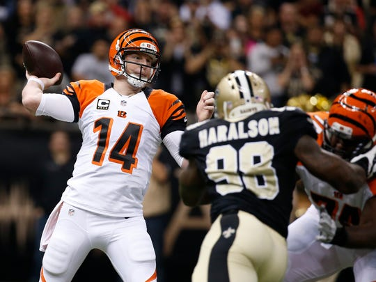 Bengals quarterback Andy Dalton passes against the