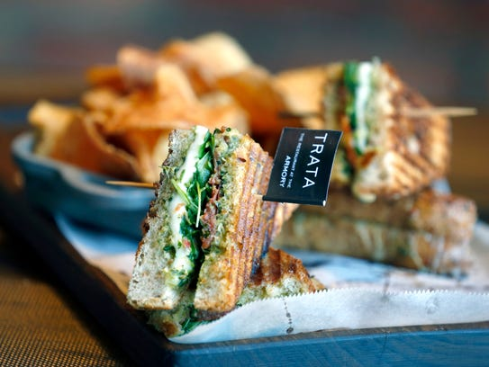 The Caprese Grilled Cheese Panini at TRATA, is part