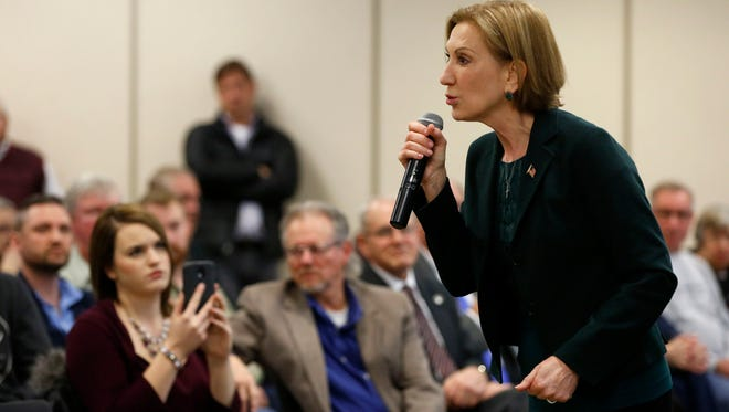 Republican presidential candidate Carly Fiorina speaks Wednesday, Jan. 20, 2016, at a campaign stop at the Greater Des Moines Botanical Gardens.