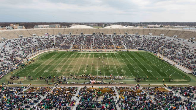 A general view of the Notre Dame Stadium during the Blue-Gold game.