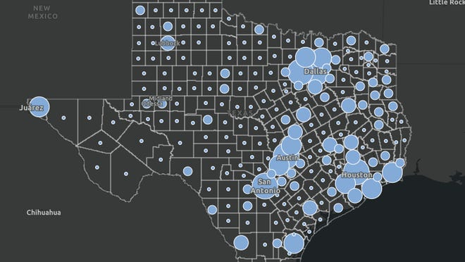 A map from the Texas Department of State Health Services illustrates the spread of COVID-19 across the state.